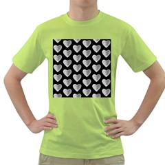 Heart Pattern Silver Green T Shirt by MoreColorsinLife
