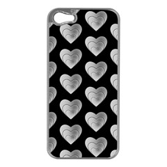 Heart Pattern Silver Apple Iphone 5 Case (silver) by MoreColorsinLife