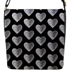 Heart Pattern Silver Flap Messenger Bag (s) by MoreColorsinLife