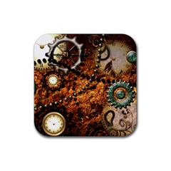 Steampunk In Noble Design Rubber Square Coaster (4 Pack)  by FantasyWorld7