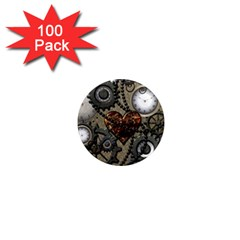 Steampunk With Clocks And Gears And Heart 1  Mini Magnets (100 Pack)  by FantasyWorld7