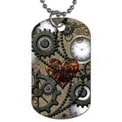 Steampunk With Clocks And Gears And Heart Dog Tag (two Sides) by FantasyWorld7