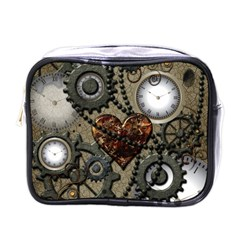 Steampunk With Clocks And Gears And Heart Mini Toiletries Bags by FantasyWorld7