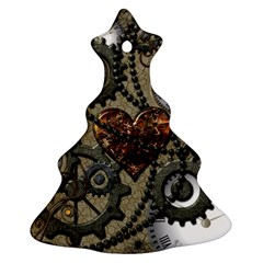 Steampunk With Clocks And Gears And Heart Christmas Tree Ornament (2 Sides)