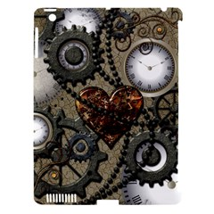 Steampunk With Clocks And Gears And Heart Apple Ipad 3/4 Hardshell Case (compatible With Smart Cover) by FantasyWorld7