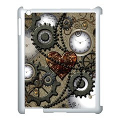 Steampunk With Clocks And Gears And Heart Apple Ipad 3/4 Case (white) by FantasyWorld7