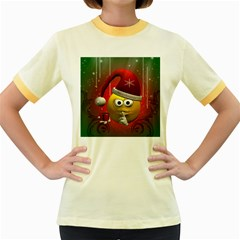 Funny Christmas Smiley Women s Fitted Ringer T Shirts