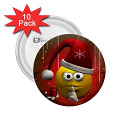 Funny Christmas Smiley 2 25  Buttons (10 Pack)  by FantasyWorld7