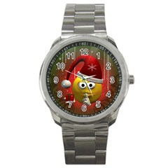 Funny Christmas Smiley Sport Metal Watches by FantasyWorld7