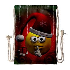 Funny Christmas Smiley Drawstring Bag (large) by FantasyWorld7