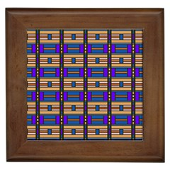 Rectangles And Stripes Pattern Framed Tile by LalyLauraFLM