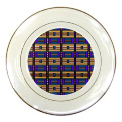 Rectangles And Stripes Pattern Porcelain Plate by LalyLauraFLM