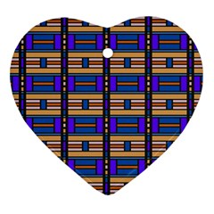 Rectangles And Stripes Pattern Heart Ornament (two Sides)