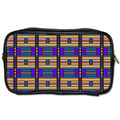 Rectangles And Stripes Pattern Toiletries Bag (one Side)