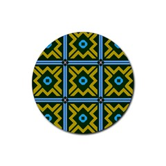 Rhombus In Squares Pattern Rubber Round Coaster (4 Pack)