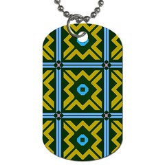 Rhombus In Squares Pattern Dog Tag (one Side)
