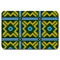 Rhombus In Squares Pattern Large Doormat by LalyLauraFLM