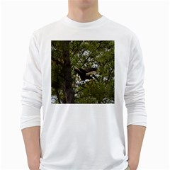 Bald Eagle White Long Sleeve T-shirts by timelessartoncanvas