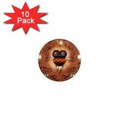 Steampunk, Funny Owl With Clicks And Gears 1  Mini Magnet (10 Pack)  by FantasyWorld7