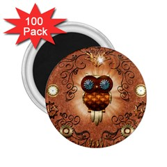 Steampunk, Funny Owl With Clicks And Gears 2 25  Magnets (100 Pack)  by FantasyWorld7