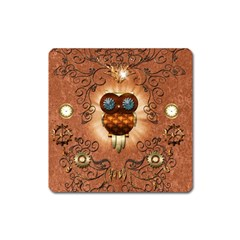 Steampunk, Funny Owl With Clicks And Gears Square Magnet by FantasyWorld7