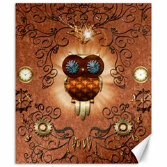 Steampunk, Funny Owl With Clicks And Gears Canvas 20  X 24