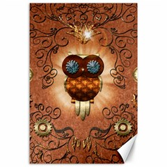 Steampunk, Funny Owl With Clicks And Gears Canvas 24  X 36  by FantasyWorld7