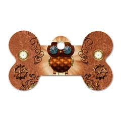 Steampunk, Funny Owl With Clicks And Gears Dog Tag Bone (one Side)