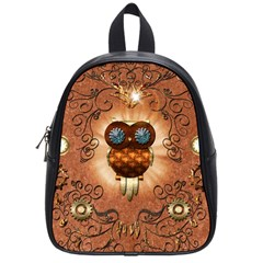 Steampunk, Funny Owl With Clicks And Gears School Bags (small)  by FantasyWorld7