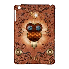 Steampunk, Funny Owl With Clicks And Gears Apple Ipad Mini Hardshell Case (compatible With Smart Cover) by FantasyWorld7