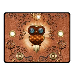 Steampunk, Funny Owl With Clicks And Gears Double Sided Fleece Blanket (small)