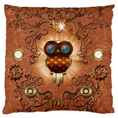 Steampunk, Funny Owl With Clicks And Gears Standard Flano Cushion Cases (two Sides)