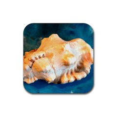 Sea Shell Spiral 2 Rubber Square Coaster (4 Pack)  by timelessartoncanvas