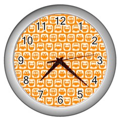 Yellow And White Owl Pattern Wall Clocks (silver)  by creativemom