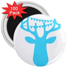 Party Deer With Bunting 3  Magnets (100 Pack) by CraftyLittleNodes