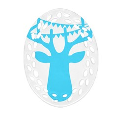 Party Deer With Bunting Oval Filigree Ornament (2 Side)  by CraftyLittleNodes