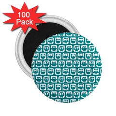 Teal And White Owl Pattern 2 25  Magnets (100 Pack)  by creativemom