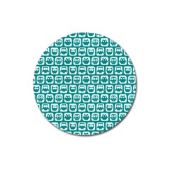 Teal And White Owl Pattern Magnet 3  (round) by creativemom