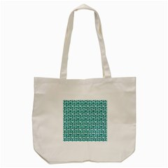 Teal And White Owl Pattern Tote Bag (cream)  by creativemom