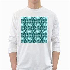 Teal And White Owl Pattern White Long Sleeve T Shirts