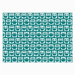Teal And White Owl Pattern Large Glasses Cloth (2 Side) by creativemom