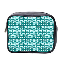 Teal And White Owl Pattern Mini Toiletries Bag 2 Side by creativemom