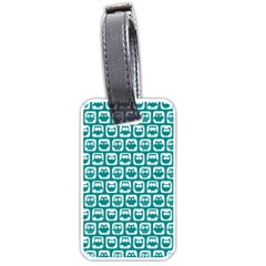 Teal And White Owl Pattern Luggage Tags (two Sides) by creativemom