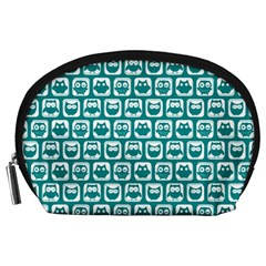 Teal And White Owl Pattern Accessory Pouches (large)