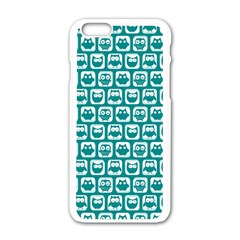 Teal And White Owl Pattern Apple Iphone 6 White Enamel Case