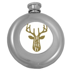 Life Is A Party Buck Deer Round Hip Flask (5 Oz) by CraftyLittleNodes