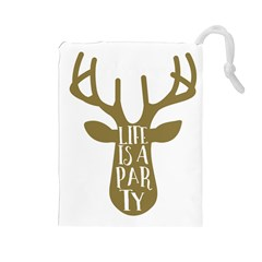 Life Is A Party Buck Deer Drawstring Pouches (large)