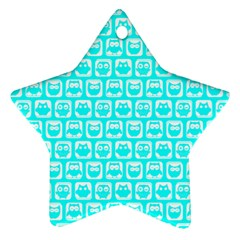 Aqua Turquoise And White Owl Pattern Star Ornament (two Sides)  by creativemom
