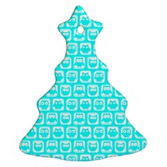 Aqua Turquoise And White Owl Pattern Christmas Tree Ornament (2 Sides)