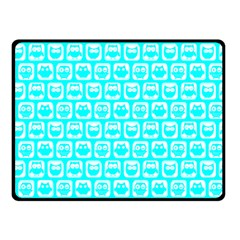 Aqua Turquoise And White Owl Pattern Double Sided Fleece Blanket (small)